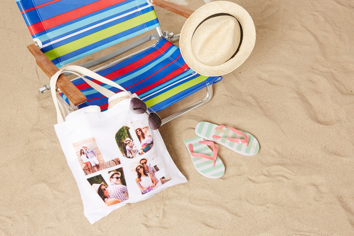 Personalized tote bag at the beach