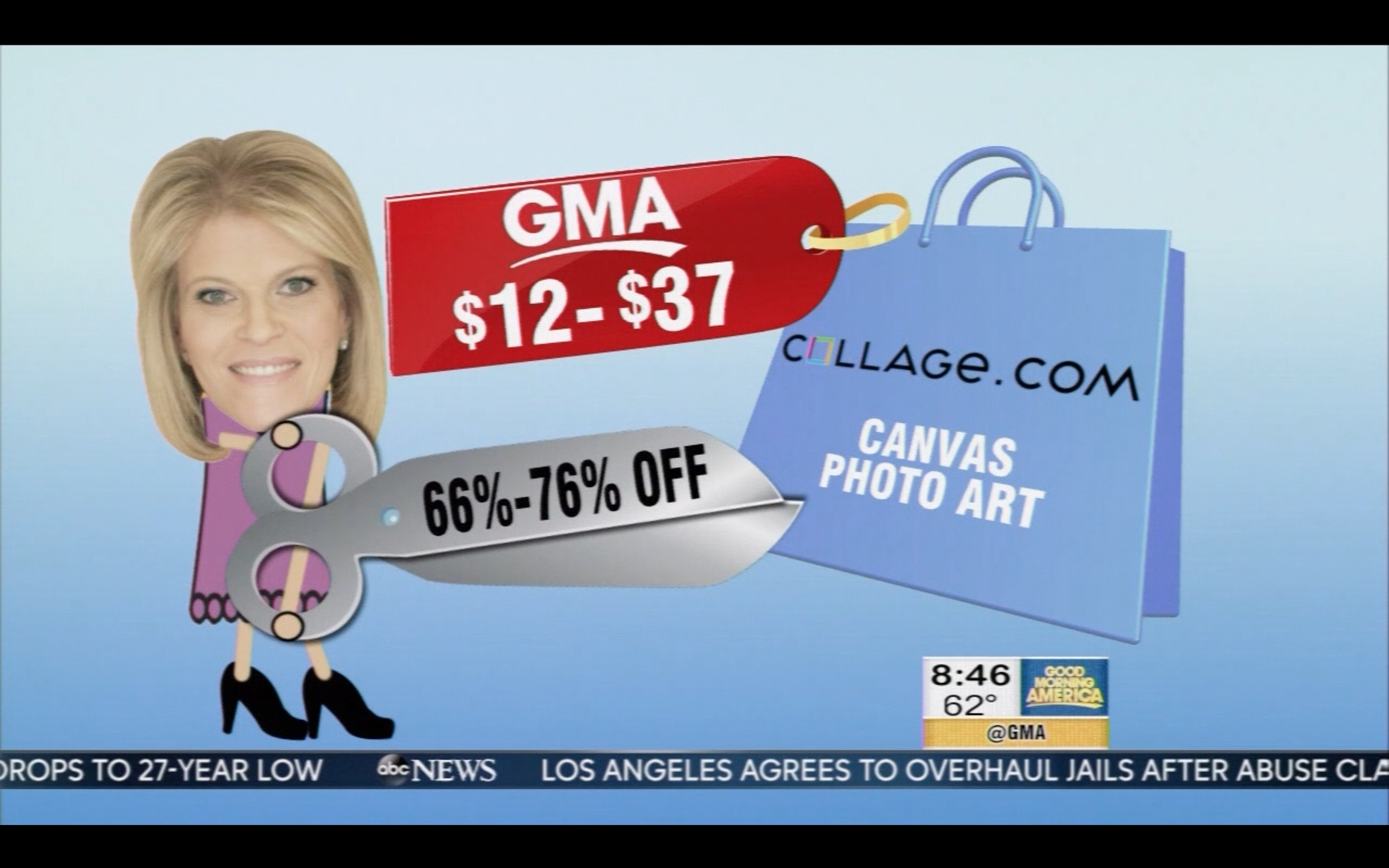 Collage.com on Good Morning America with up to 76%-off gallery wrap canvases