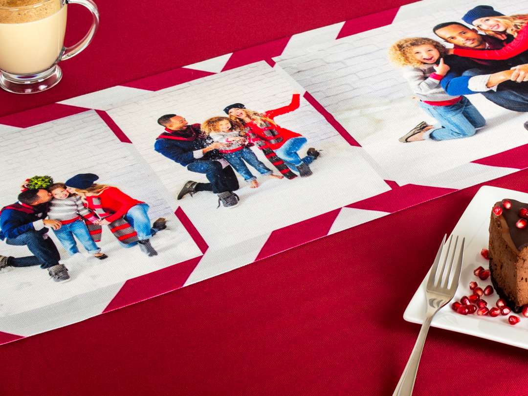 Custom table runners are perfect for holiday dinners