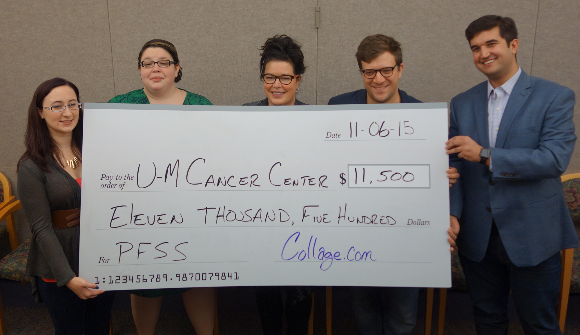 Collage.com donates $11,500 to University of Michigan Cancer Center