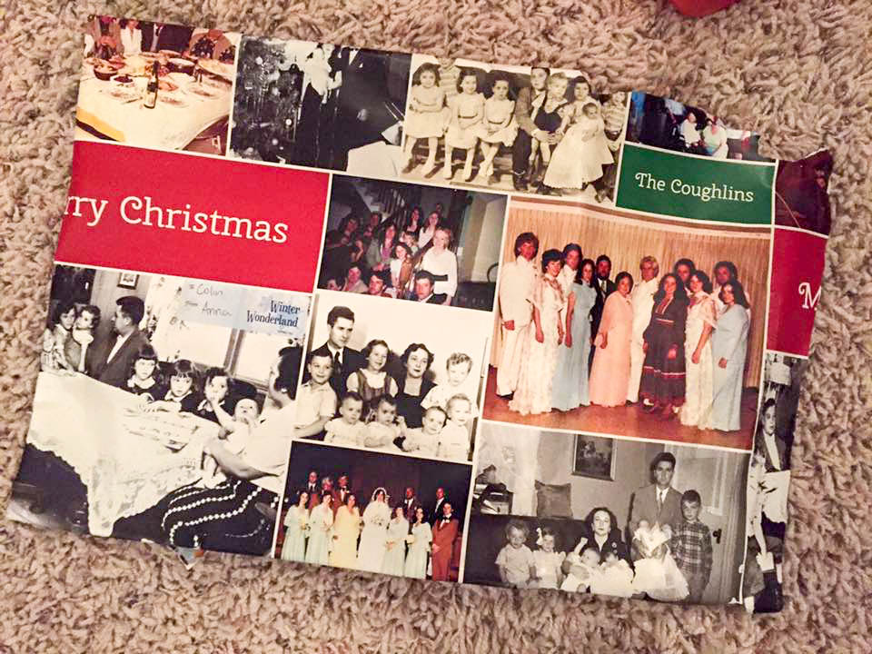 Holiday vintage photo gift wrap