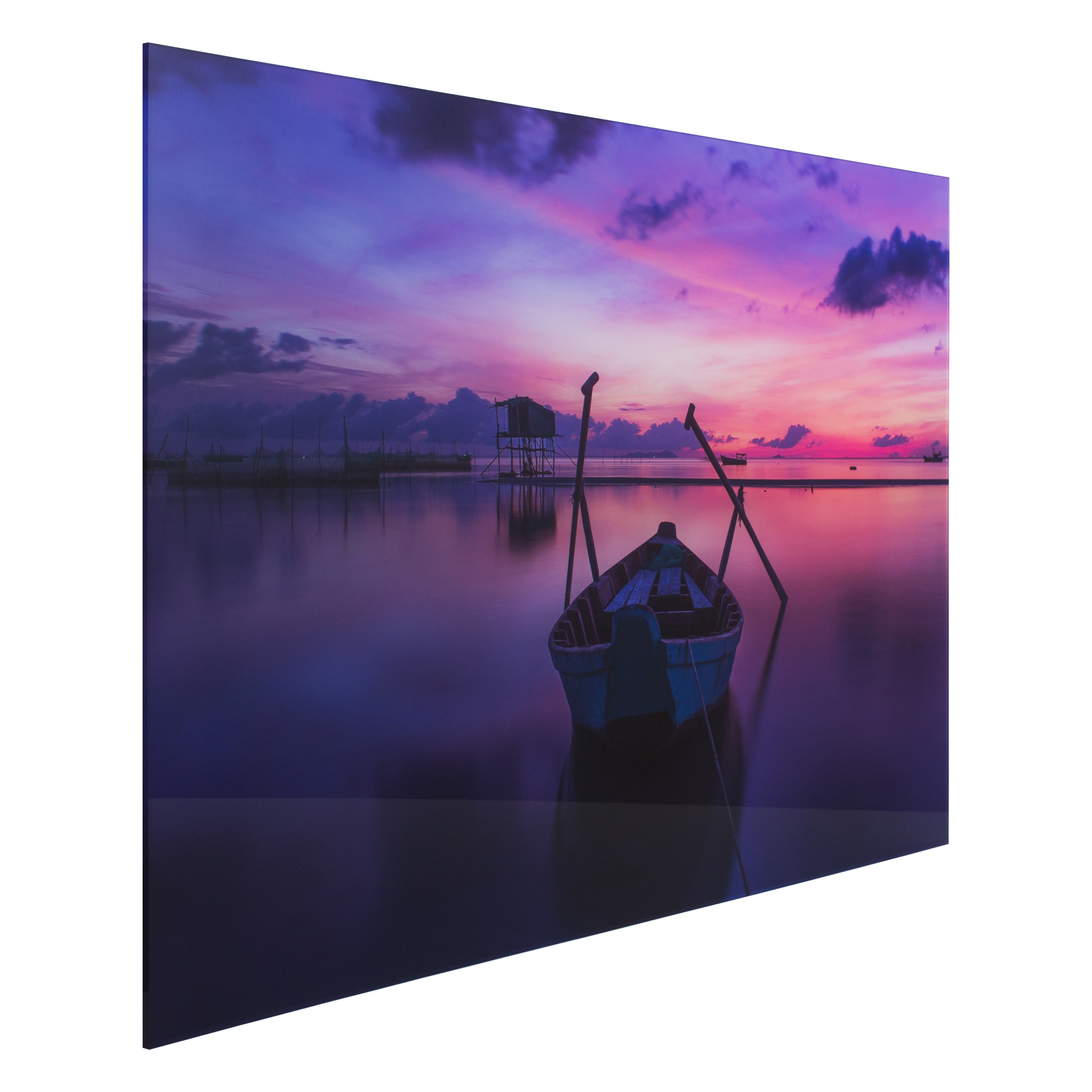 Custom acrylic print of row boat on water at sunset