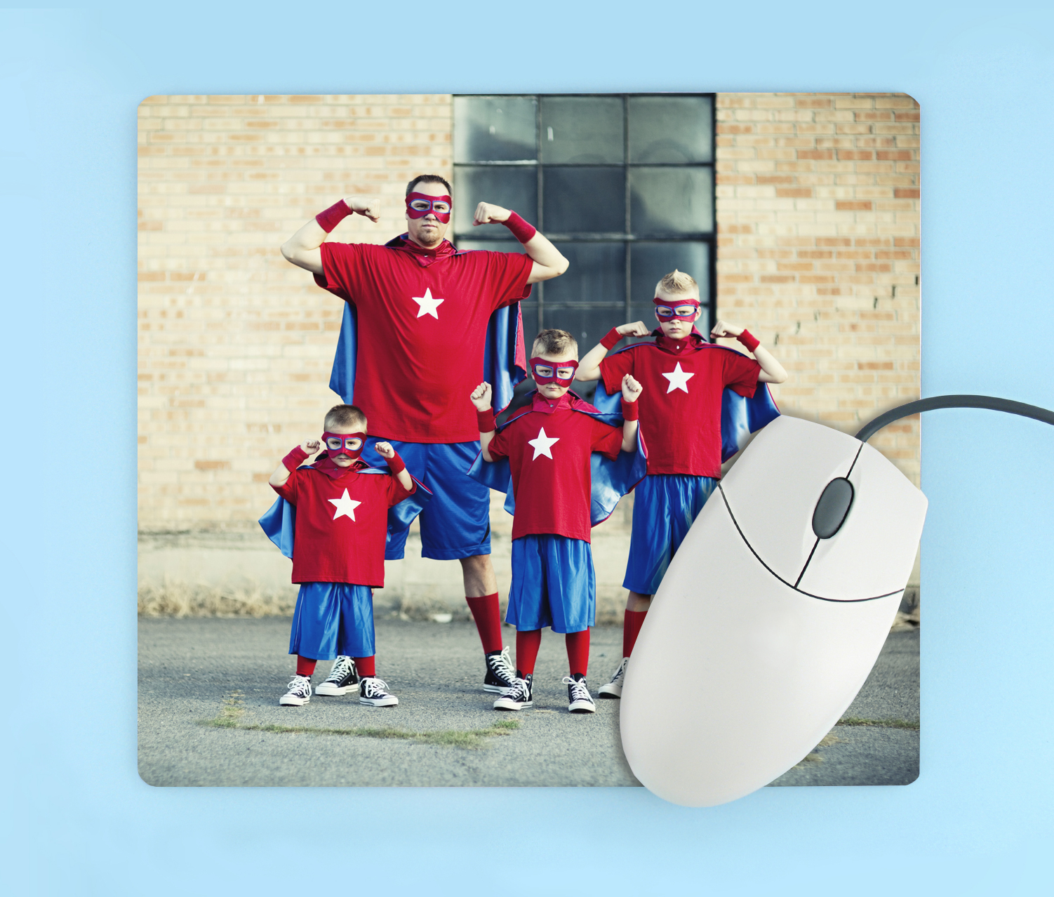 Personalized mousepad with photo of family in superhero costumes