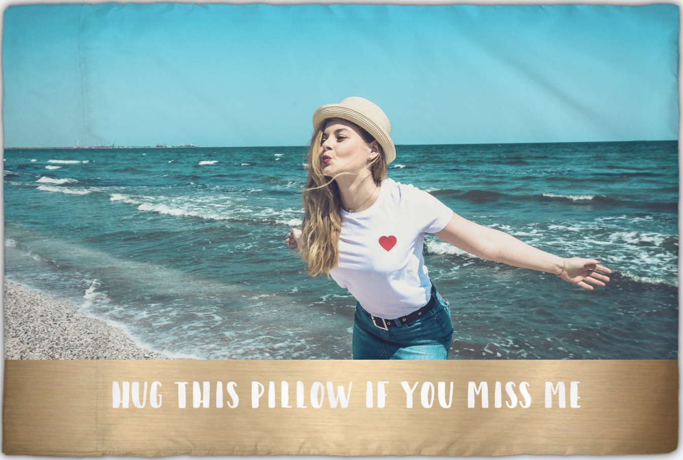 Photo pillowcase with woman in front of ocean | Gifts for Him