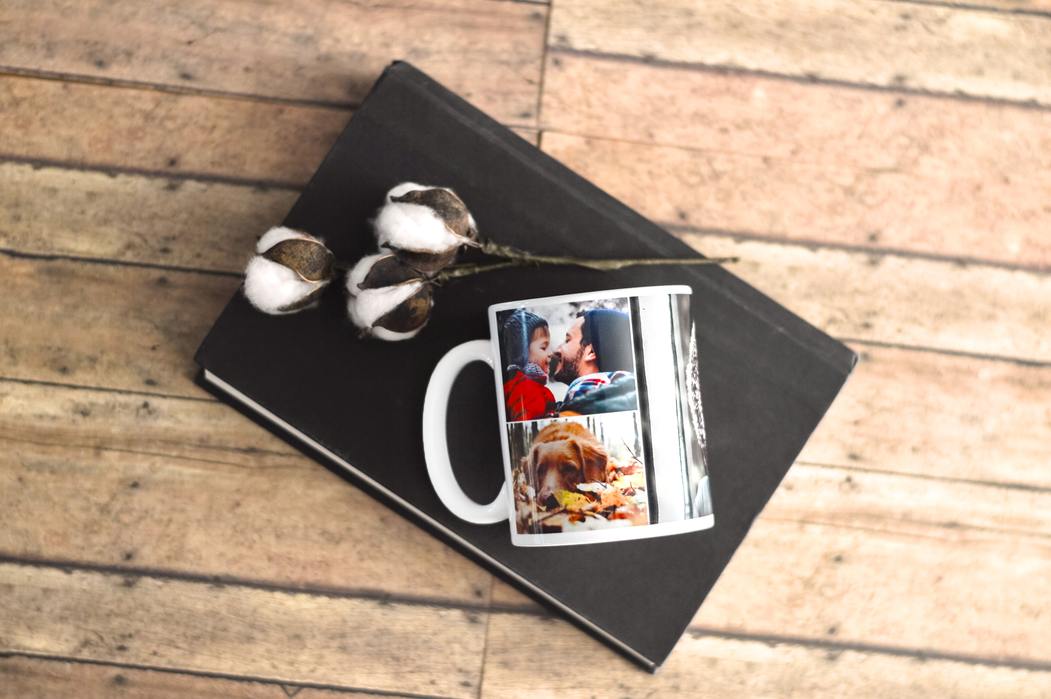 Custom photo mug laying on top of black book | Gifts for Him