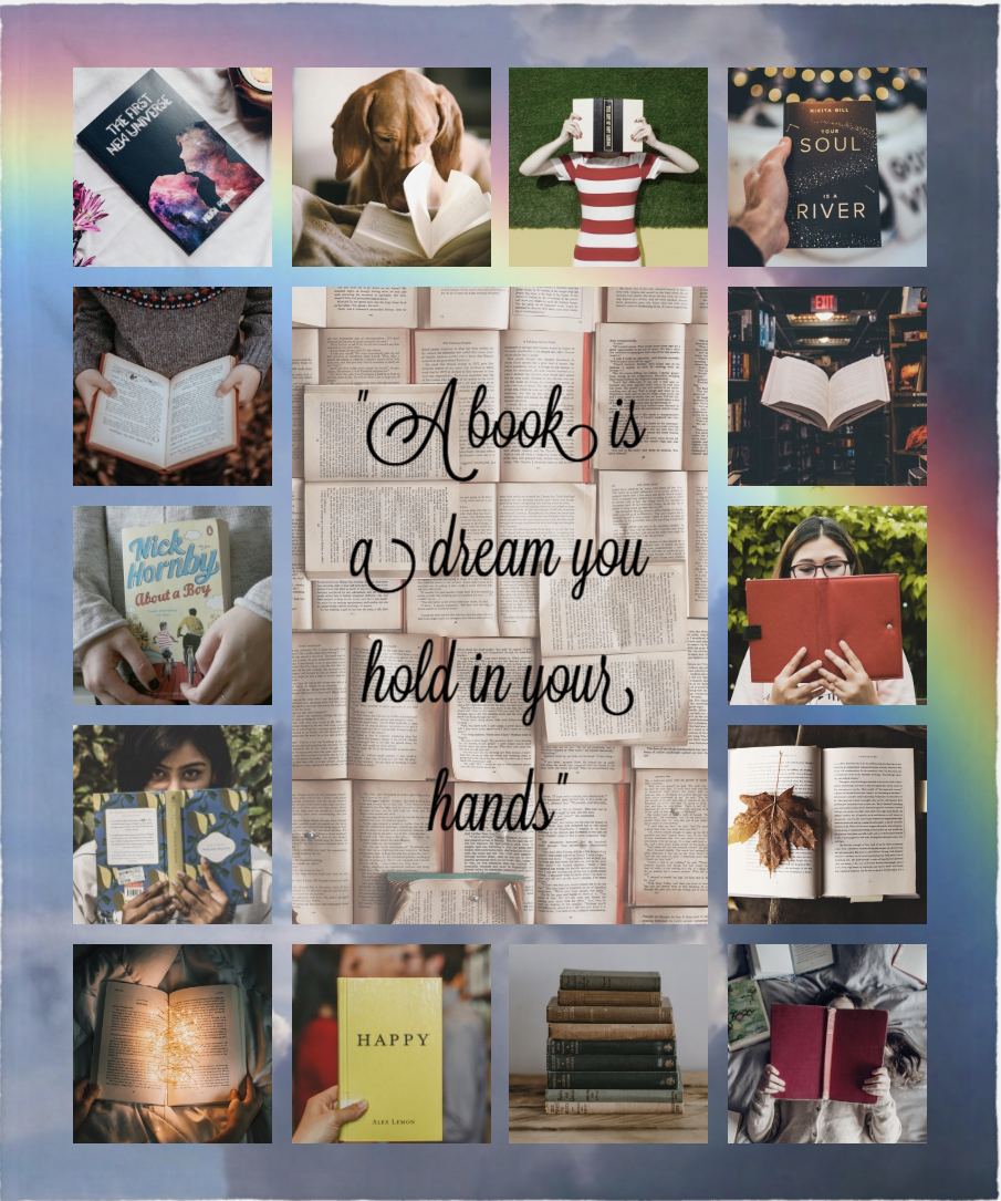 Photo collage of book covers and people reading books