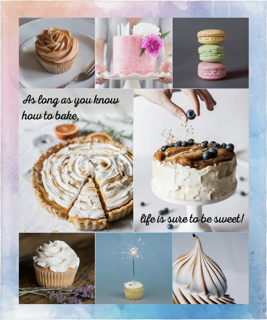 Photo collage of cakes and pie