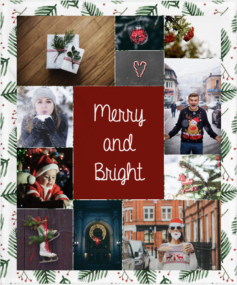 Photo collage of Christmas themed images