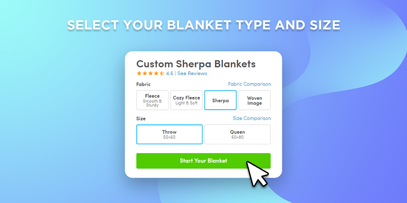 select your photo blanket size and type