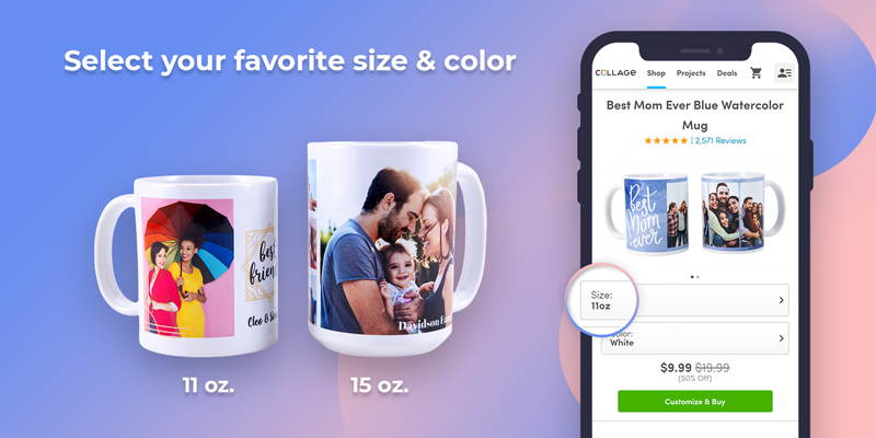 Step 1: Select Your Mug Size and Color