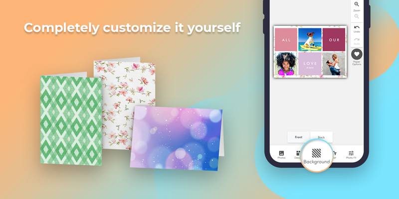 Make your own photo card with templates, or customize the card yourself