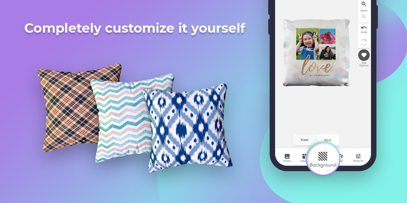 Use our photo pillow templates, or completely customize it yourself