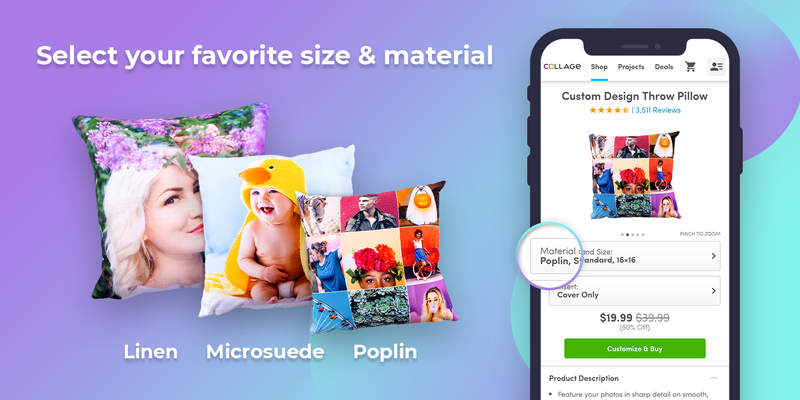 Decide which size pillow and material you would like to create