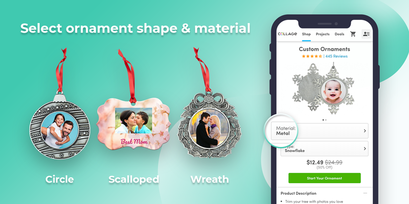Select Your Favorite Ornament Shape and Material
