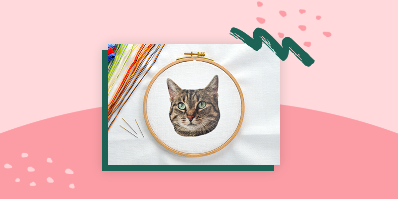Embroidered Cat Portrait